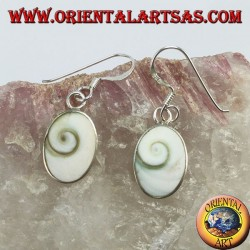 Silver earrings, eye of Saint Lucy oval