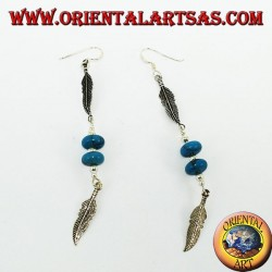 Native silver earrings 2 feathers with 2 turquoise