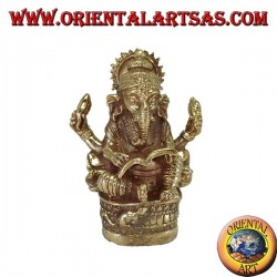 Statue of Ganesh writing the Mahabharata, in brass
