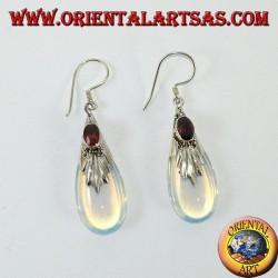 Boucles d'oreilles en argent avec opale de mer et grenat
