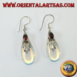 Silver earrings with sea opal and garnet