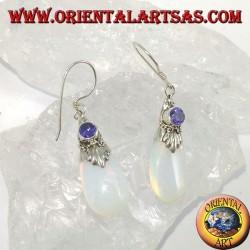 Серебряные серьги с морским опалом и аметистом