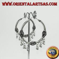 Серебряные серьги (круг) с подвесками