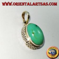 Ciondolo argento a bordo alto con Turchese Tibetano naturale