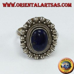 Ring with 925 silver lapis laurel on decorated border
