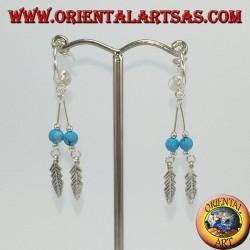 Boucles d'oreilles en argent, demi-cercle avec 2 pendentifs à plumes et turquoise