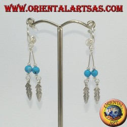 Silver earrings, semicircle with 2 feathered pendants and turquoise