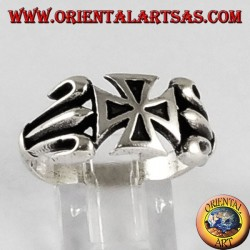 Silver ring with cross of the Templars