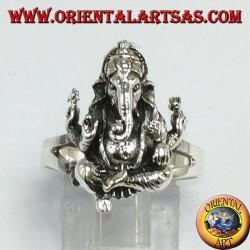 Anello d'argento con Ganesha o Ganesh seduto