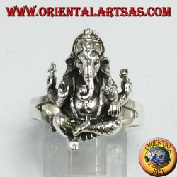 Silver ring with seated Ganesh