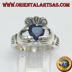 Claddagh ring with zircon (blue sapphire color)
