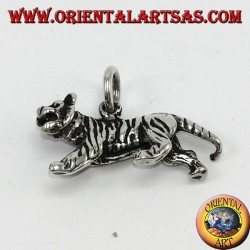 Anhänger aus Silber, dreidimensionaler Tiger