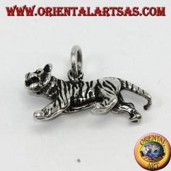 Ciondolo in argento, tigre tridimensionale