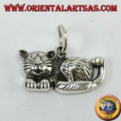 Colgante de plata, gato relajado