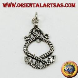 Ciondolo d'argento, due serpenti attorcigliati