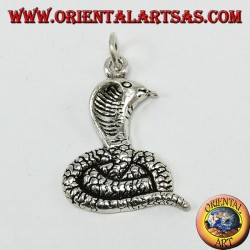 Silver pendant, cobra coming out of the tongue