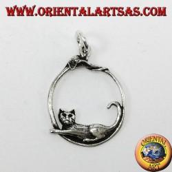 Ciondolo d'argento, il gatto ed il topo sul cerchio