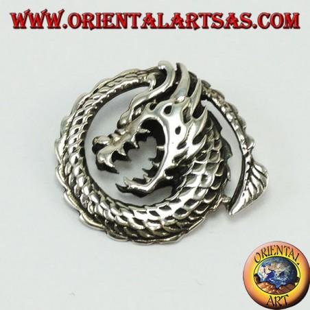 Ciondolo in argento drago a spirale