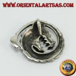 Pendentif dragon en spirale argenté,