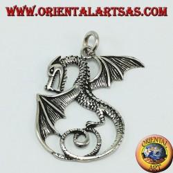 Серебряный кулон, дракон с крыльями (большой)