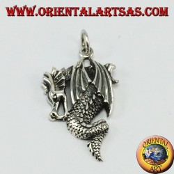 Silver pendant, dragon with wings closed