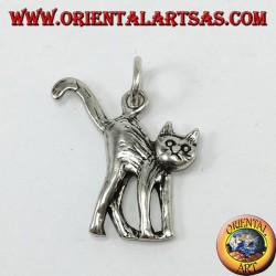 Silver pendant, cat raising tail