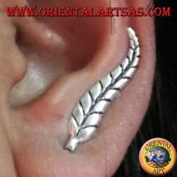 Silver earring Feather cover ear