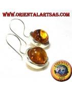 Boucles d'oreilles en argent 925 ‰ avec ambre de la Baltique